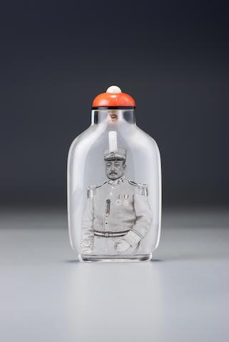 An inside-painted crystal 'portrait of Zhang Cengju' snuff bottle Ma Shaoxuan, Ox Street district, Beijing, 1920–1932 (the bottle: 1760–1932)