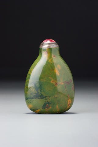 A jasper snuff bottle Possibly Imperial, possibly palace workshops, 1760–1840