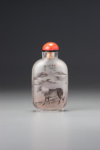 An inside-painted glass 'horse and landscape' snuff bottle Gui Xianggu, Beijing, dated 1898