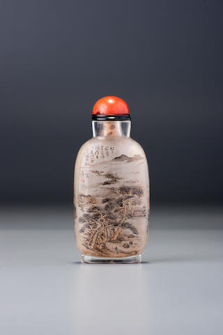 An inside-painted glass 'landscape' snuff bottle Ding Erzhong, Xuannan, Beijing, dated 1898
