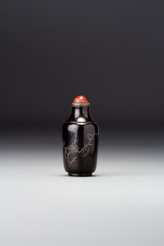 An inlaid lacquer 'prunus' snuff bottle Dated autumn, 1888