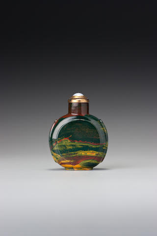 A panelled jasper snuff bottle Possibly Imperial, 1730–1860