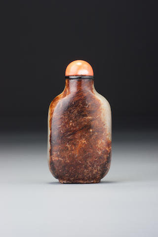 An inscribed nephrite pebble-material snuff bottle Yitang mark, 1780–1833