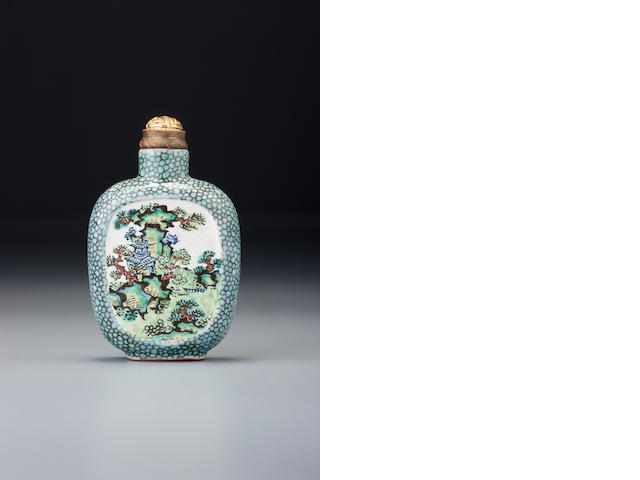 A 'famille-rose' enamel on stoneware 'landscape' snuff bottle The Jagged Line Master, Yixing, 1800–1850