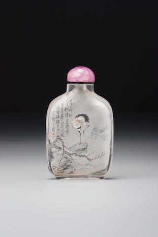 An inside-painted crystal 'crane and prunus' snuff bottle Zhou Leyuan, The Studio of Lotus-root Fragrance, Xuannan, Beijing, circa 1892 (the bottle: 1750–1880)
