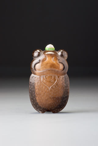 A crystal 'cicada' snuff bottle Possibly Imperial, 1740–1850