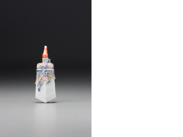 A 'famille-rose' enamel on porcelain 'ritual object' snuff bottle Jingdezhen, 1785–1830