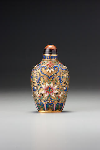 A 'famille-rose' cloisonné enamel on copper 'Indian lotus' snuff bottle Imperial, palace workshops, Beijing, 1750–1799