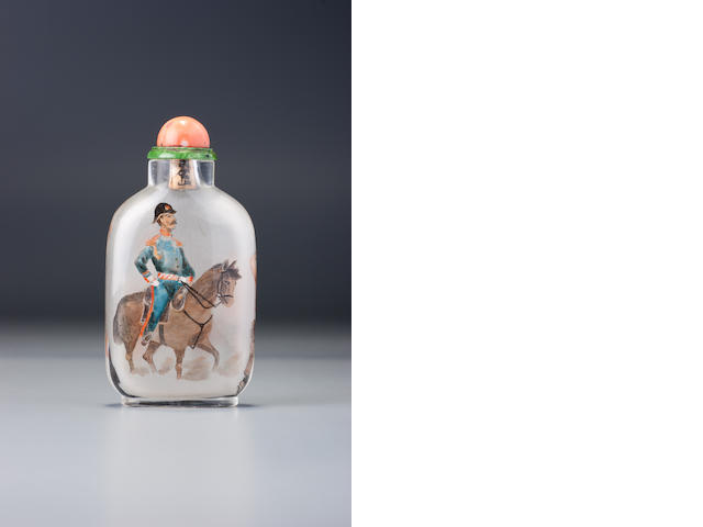 An inside-painted glass 'mounted Westerner' snuff bottle Ziyizi, Beijing, probably circa 1900