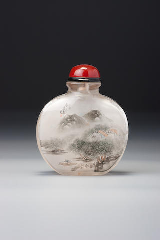 An inside-painted crystal 'landscape' snuff bottle   Zhou Leyuan, The Studio of Lotus-root Fragrance, Xuannan, Beijing, dated 1885 (the bottle: 1780–1870)