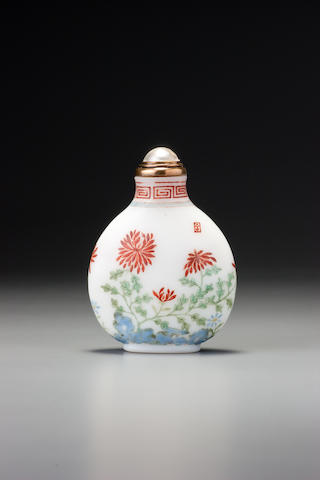 An inscribed enamel on glass 'chrysanthemums' snuff bottle Imperial, Guyue xuan mark, palace workshops, Beijing, dated 1775