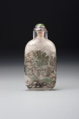 An inside-painted glass 'landscape' snuff bottle Zhou Leyuan, The Studio of Lotus-root Fragrance, Xuannan, Beijing, 1890 or 1891