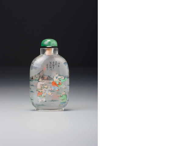 An inside-painted glass 'playing children' snuff bottle Ye Zhongsan, the Apricot Grove Studio, Chongwen district, Beijing, dated 1896