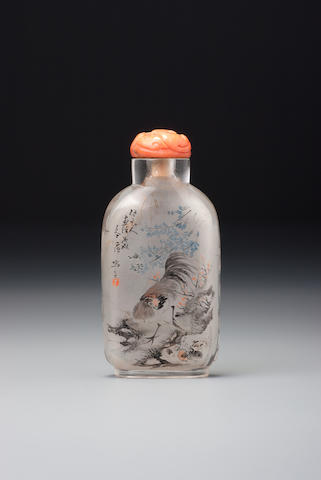 An inside-painted glass 'chicken' snuff bottle Ding Erzhong, Xuannan, Beijing, dated 1898