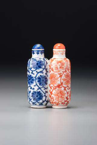 An iron-red and underglaze-blue porcelain 'Indian lotus' double snuff bottle Possibly Imperial, Jingdezhen, 1790–1840