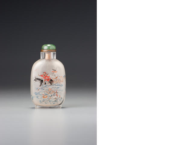 An inside-painted glass 'Zhong Kui' snuff bottle Sun Xingwu, Beijing, dated 1897