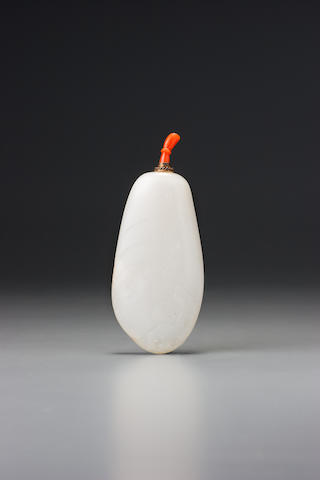 A white nephrite 'orchids' snuff bottle Possibly Suzhou, 1644–1770 (conversion: 1750–1940)