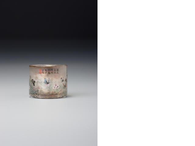 An inside-painted crystal thumb ring Ma Shaoxuan, Studio for Listening to the Qin, Ox Street district, Beijing, dated 1898 (the thumb ring: 1740–1898)