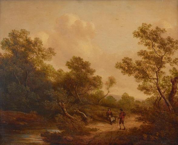 Richard H. Hilder (British, 1813-1852) Landscape with peasants