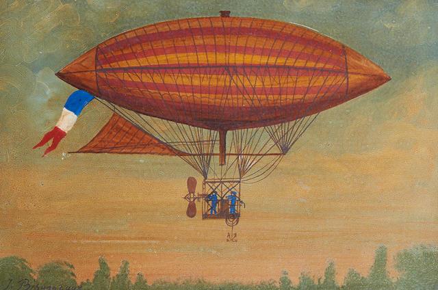 Hector Trotin (French, 1894-1966) Aérostat dirigeable electrique de Gaston et Albert Tissandier, l'ascension eut lieu le lundi 8 Octobre 1883 a 4 heures 35 près de Crossy sur Seine