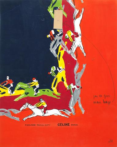 Raoul Dufy (French, 1877-1953) Projet pour un foulard (pour Céline)