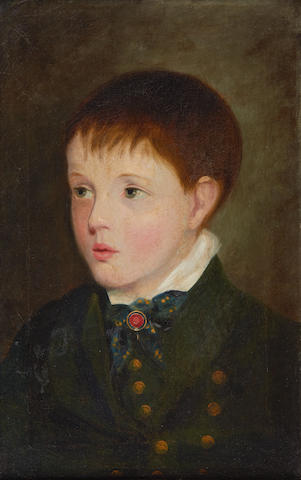 Attributed to Samuel Lover, A.R.H. (Irish, 1797-1868) Portrait of a boy in a green jacket