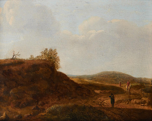 Dutch School, 18th Century Travelers on a country path
