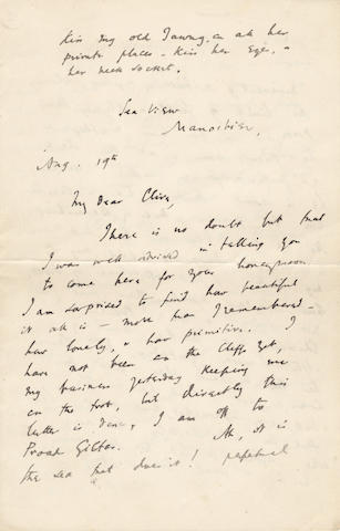 WOOLF (VIRGINIA) Fine early autograph letter signed with initials ('A[delaine] V[irginia] S[tephen]'), to Clive Bell, [1908]