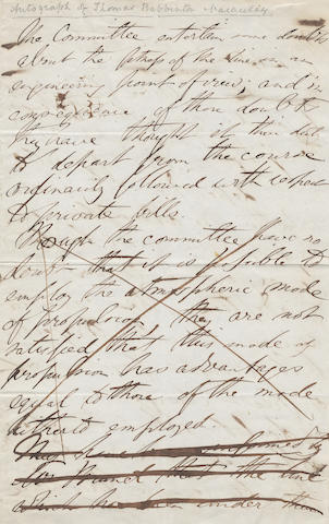 MACAULAY (THOMAS BABINGTON) Autograph draft for a parliamentary report on Brunel's atmospheric railway, [1845]