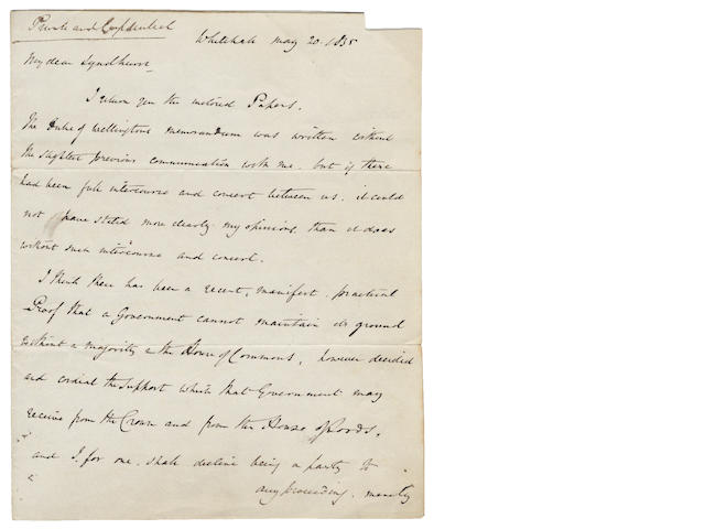 PEEL (Sir ROBERT) Private and Confidential' autograph letter signed ('Robert Peel'), to Lord Lyndhurst, formerly the Lord Chancellor, 1835