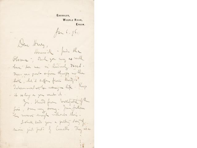 GISSING (GEORGE) Autograph letter signed to his old school friend, Dr Harry Hick, famously calling Hardy's latest novel 'Jude the Obscene', 1896