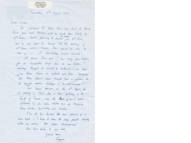 CRICK (FRANCIS) Autograph letter signed ('Francis), to Larry Bachmann, 1993