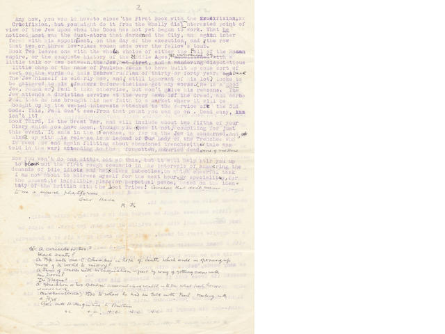 KIPLING (RUDYARD) Autograph and typed letter signed with initials, to Rider Haggard, 1923