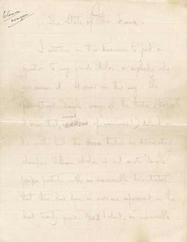 SHAW (GEORGE BERNARD) Autograph manuscript of his essay 'The State of the Drama', signed at the end, the printer's copy, [1900]