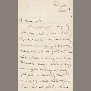 SWINBURNE (ALGERNON CHARLES) Early unpublished autograph letter signed ('A.C. Swinburne'), to his sister Alice, [1864]