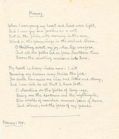 SASSOON (SIEGFRIED) Autograph manuscript of his First World War poem 'Memory', 1918