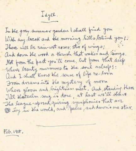 SASSOON (SIEGFRIED) Autograph manuscript of his First World War poem 'Idyll', 1918