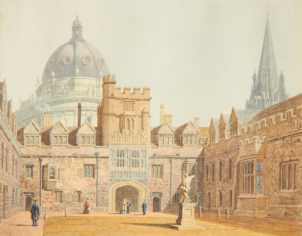 George Pyne (British, 1800-1884) The Old Quad, Brasenose College, Oxford