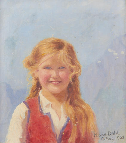 Hans Dahl (Norwegian, 1849-1937) Portrait of a young girl, believed to be Eline Wiese