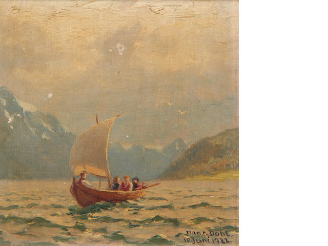 Hans Dahl (Norwegian, 1849-1937) Longboat on choppy waters