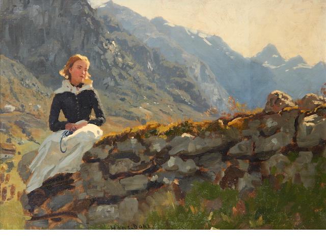 Hans Dahl (Norwegian, 1849-1937) Girl seated on a stone wall
