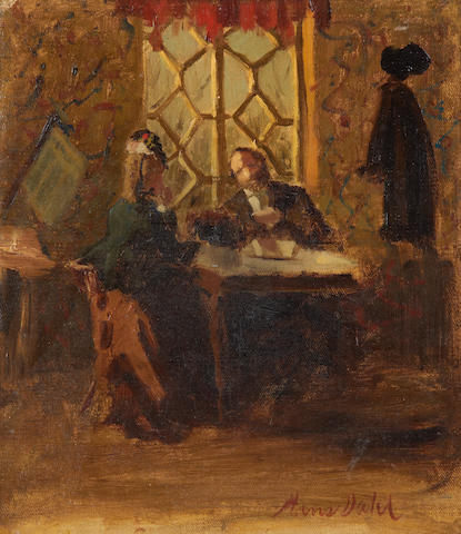 Hans Dahl (Norwegian, 1849-1937) Interior scene with figures in conversation
