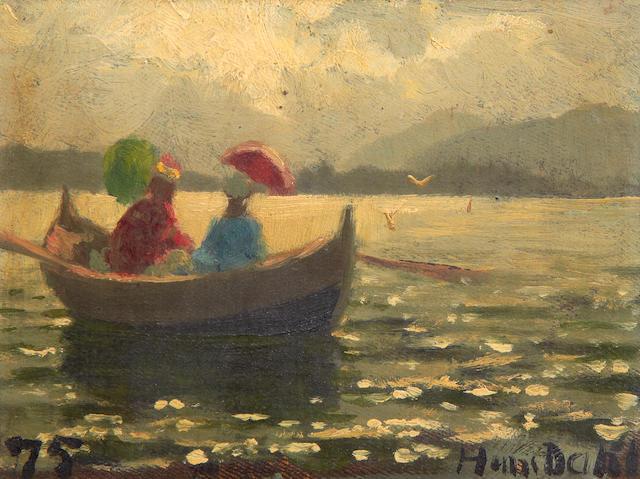 Hans Dahl (Norwegian, 1849-1937) Ladies in a boat