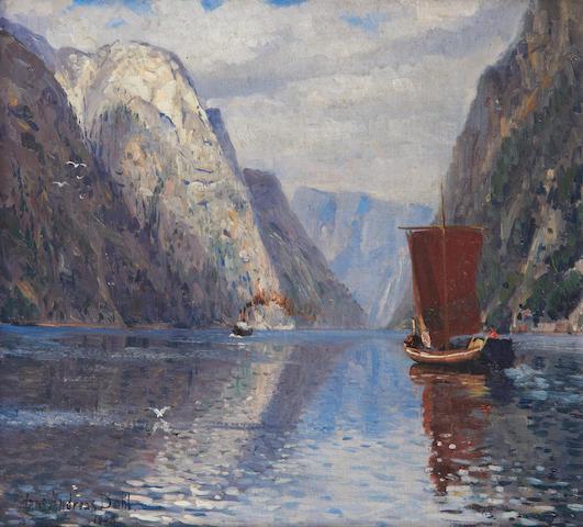Hans Andreas Dahl (Norwegian, 1881-1919) Boats on a fjord