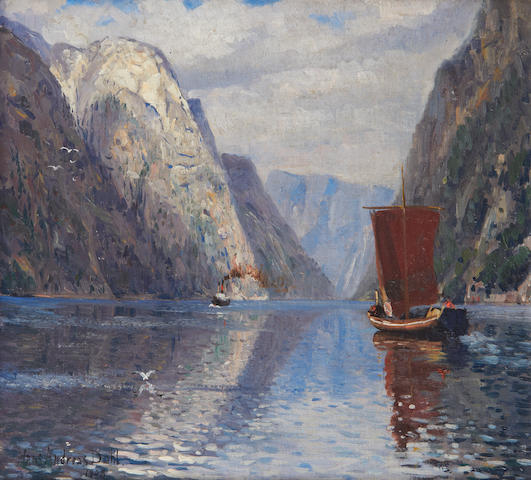 Hans Andreas Dahl (Norwegian, 1881-1919) Boats on a fyord