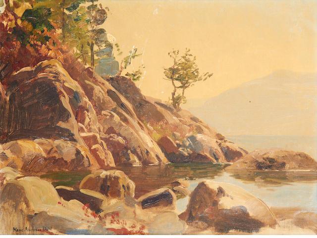 Hans Andreas Dahl (Norwegian, 1881-1919) Rocky cove