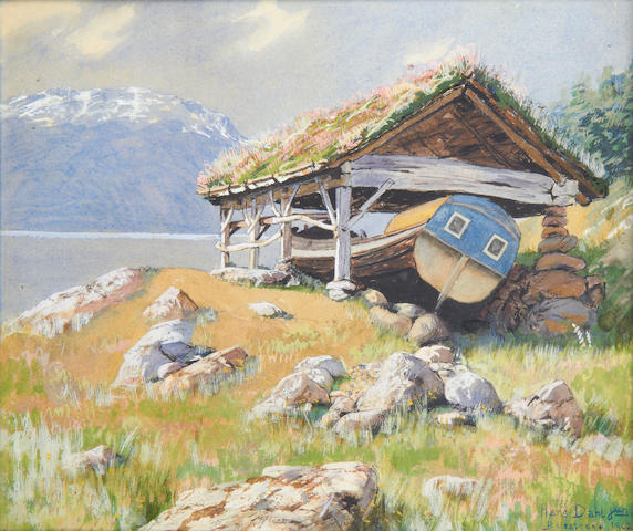 Hans Andreas Dahl (Norwegian, 1881-1919) Boathouse