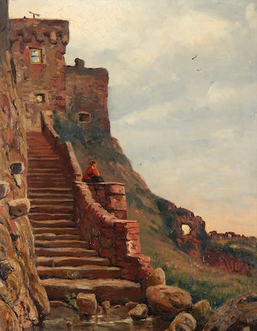 Hans Andreas Dahl (Norwegian, 1881-1919) 'Staircase', in Mont Orgieul Castle in the Island of Jersey