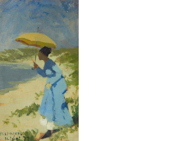 Hans Dahl (Norwegian, 1849-1937) Lady with a parasol