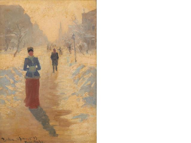 Hans Dahl (Norwegian, 1849-1937) Snowy street, Berlin